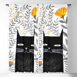 black cat with botanical illustration Blackout Curtain