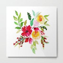 Beautiful Watercolor Floral Element Metal Print
