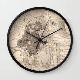 Vintage Map of Jerusalem Israel (1835) Wall Clock