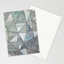 Teal And Grey Triangles Stained Glass Style Stationery Cards