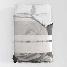 White Stipe Roses Comforters
