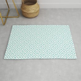 Tiffany Blue Greek Key Pattern Rug