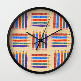 Colored Pencils for back to School Wall Clock