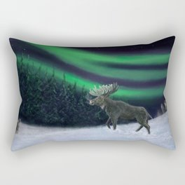 Northern Lights Moose Hunt Rectangular Pillow