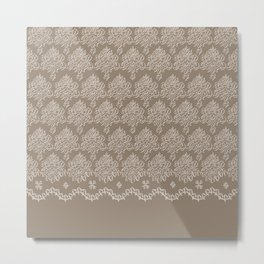 Coffee Color Damask Chenille with Lacy Edge Metal Print