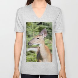 Watercolor Deer, Eastern Whitetail 02, Cape Breton, Canada, A Curious Look Unisex V-Neck