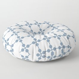 Droplets Pattern - White & Dusky Blue Floor Pillow