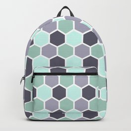 Honeycomb Grey and Green Pastel Pattern Backpack