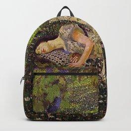 Dreaming, Woman in the Wine Vineyard amid dahlias, peonies & tulips floral painting Backpack