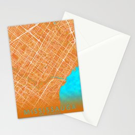 Mississauga, ON, Canada, Gold, Blue, City, Map Stationery Cards