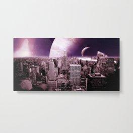 New New York : Galaxy City Dark Mauve Metal Print