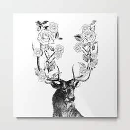 The Stag and Roses | Deer and Flowers | Vintage Stag | Vintage Deer | Antlers | Black and White | Metal Print