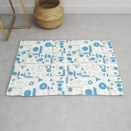 Blue White Geometric Shapes Rug