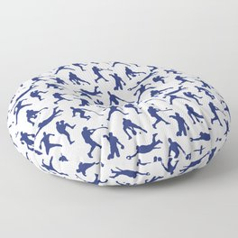 Blue Baseball Players Floor Pillow