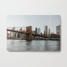 Skyline with Brooklyn Bridge - 2 | Colourful Travel Photography | New York City, America (USA) Metal Print