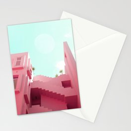 Pink Facade Moon Stationery Cards