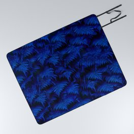 Deep Blue Fern Plant Wall Picnic Blanket