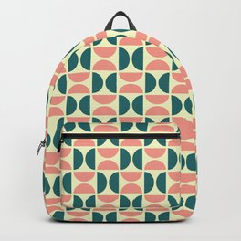 HALF-CIRCLES, TEAL AND PEACH Backpack