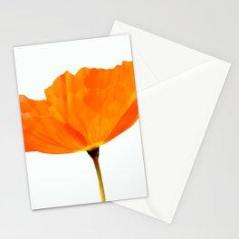 One And Only - Orange Poppy White Background #decor #society6 #buyart Stationery Cards