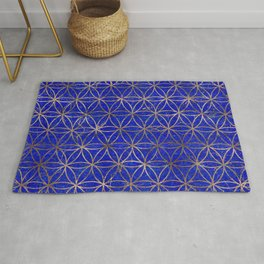 Flower of life pattern - Lapis Lazuli and Gold Rug