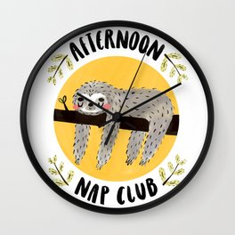 Afternoon Nap Club Sloth Wall Clock