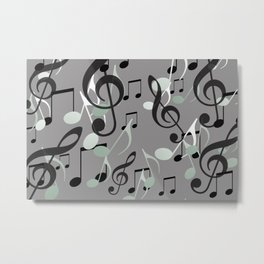 Many Music Notes with clef grey and black Metal Print