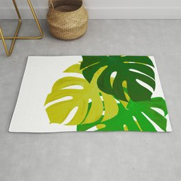 Green Monstera Leaves White Background #decor #society6 #buyart Rug