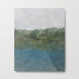 Green Teal Gray Nature Trees Lake River Scenic Horizon Abstract Painting Art Print Wall Decor  Metal Print