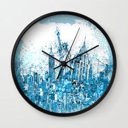new york skyline blue Wall Clock