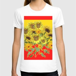 GOLDEN-RED SUNNY YELLOW SUNFLOWERS T-shirt