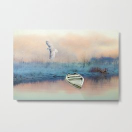 Snowy Owl and Winter Pond Metal Print