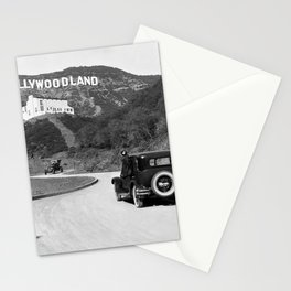 Old Hollywood sign Hollywoodland black and white photograph Stationery Cards