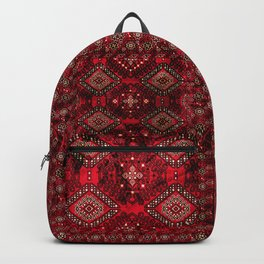 N129 - Epic Royal Red Oriental Traditional Moroccan Style Fabric Design  Backpack