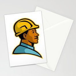 African American Construction Worker Mascot Stationery Cards