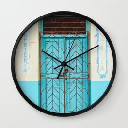 Havana Cuba Old Iron Door Colorful Latin America Caribbean Island Travel Art Print Turquoise Wall Clock
