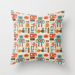 Funky Robot Throw Pillow