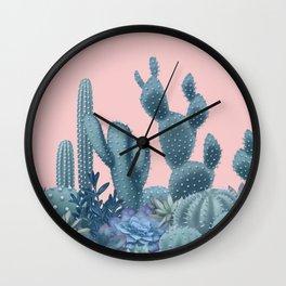 Milagritos Cacti on Rose Quartz Background Wall Clock