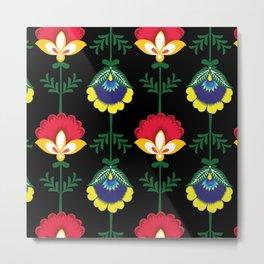 Colorful Ethnic Folk Flowers Metal Print