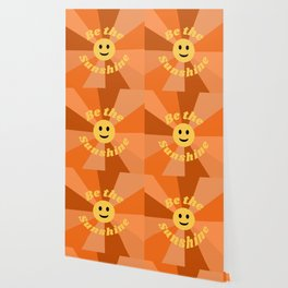 Be The Sunshine Happy Face Smile Retro Groovy Positivity Quote Wallpaper