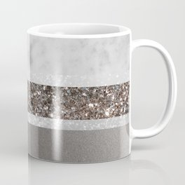 White Marble Silver Glitter Stripe Glam #1 #minimal #decor #art #society6 Coffee Mug