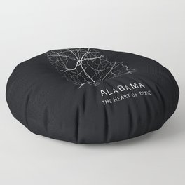 Alabama State Road Map Floor Pillow