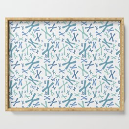 Chromosomes - Blues on White Serving Tray