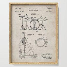 Drum Set Patent - Drummer Art - Antique Serving Tray