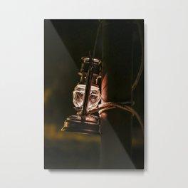 Pretty old oil lamp lantern in the dark Metal Print