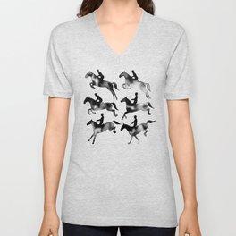 Watercolor Showjumping Horses (Black) Unisex V-Neck