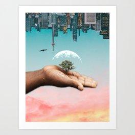 Upside Down City World Art Print
