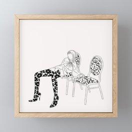 Figure sitting illustration Framed Mini Art Print