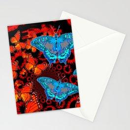 Decorative Blue Moths Orange Butterflies  Design Stationery Cards