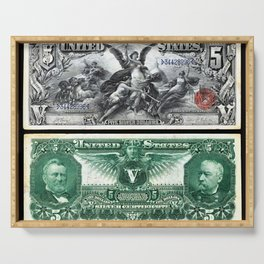 Vintage 1886 US $5 Dollar Bill Silver Certificate Wall Art Serving Tray
