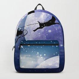 Santa Claus Reindeer Christmas Night Moon Backpack